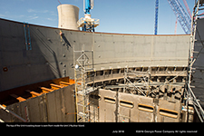 The top of the Unit 4 cooling tower is seen from inside the Unit 3 Nuclear Island.
