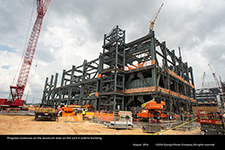 Progress continues on the structural steel on the Unit 4 turbine building.