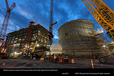 Workers prepare to place the first accumulator tank inside Vogtle Unit 3 containment.