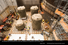An overhead view of the process tank in hole under CA20 prior to its placement in Unit 4 nuclear island.