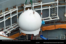 The first of two accumulator tanks is placed inside Vogtle Unit 3 containment.