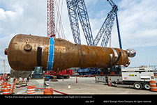 The first of two steam generators is being prepared for placement inside Vogtle Unit 3 containment.