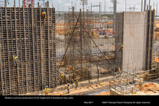 Workers continue construction of the Vogtle Unit 4 transformer bay walls.