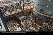 A view inside the Vogtle Unit 3 nuclear island, with annex building construction on the left.