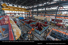 A view inside the Vogtle Unit 3 turbine building, where the turbine generators will be located.