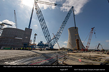 Plant Vogtle's Lampson crane prepares to lift the first steam generator for placement inside the Unit 3 containment vessel.
