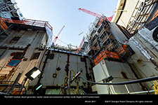 The CA01 module, steam generator, reactor vessel and pressurizer cavities inside Vogtle Unit 3 containment.