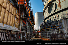 Vogtle Unit 3 nuclear island and shield building construction.