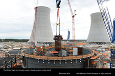 The 306-ton Vogtle Unit 3 reactor vessel is placed inside the nuclear island.