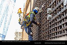 Ironworkers installing rebar on the Unit 3 Turbine Island First Bay walls